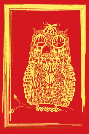 yellow owl by Adrienne Price